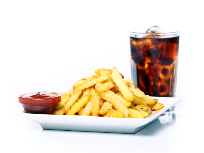 Cola with fries and ketchup platter